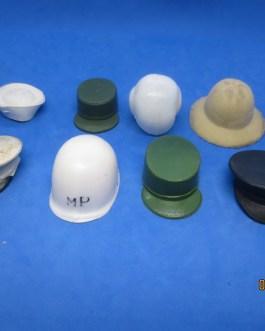 1964 vintage lot 8 gi joe helmets & hats w pith helmet