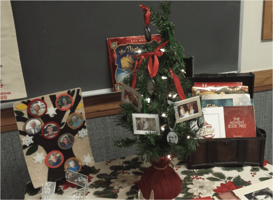 Christmas tree with photo ornaments