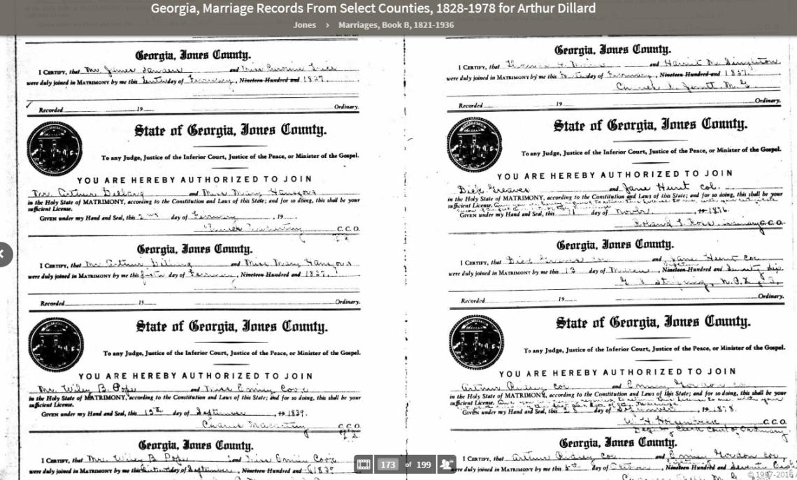 Arthur Dillard marriage, Georgia