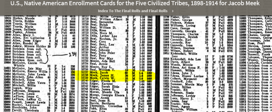 Native American Enrollment cards for Jacob Meek, James H Meek, Calvin Meek