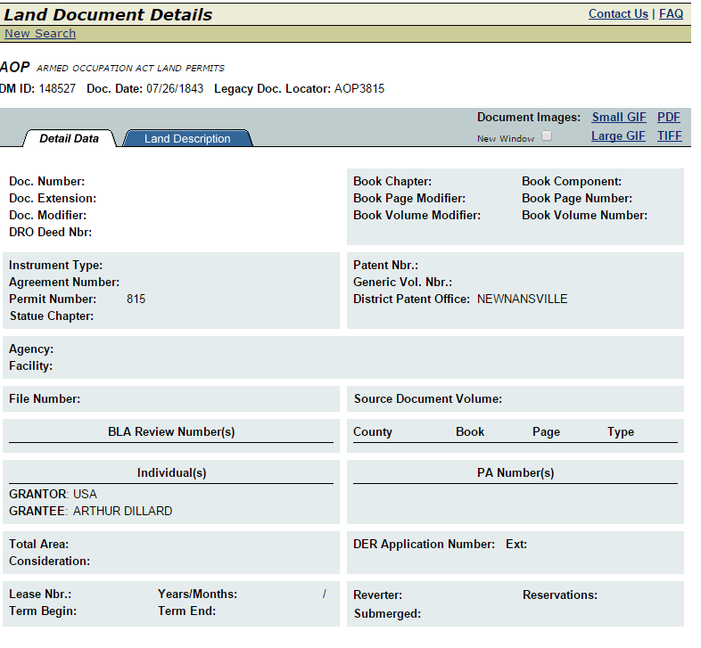 MyFlorida.com land document for Arthur Dillard, Florida, Newmansville