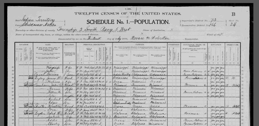 1900 census WH Shults