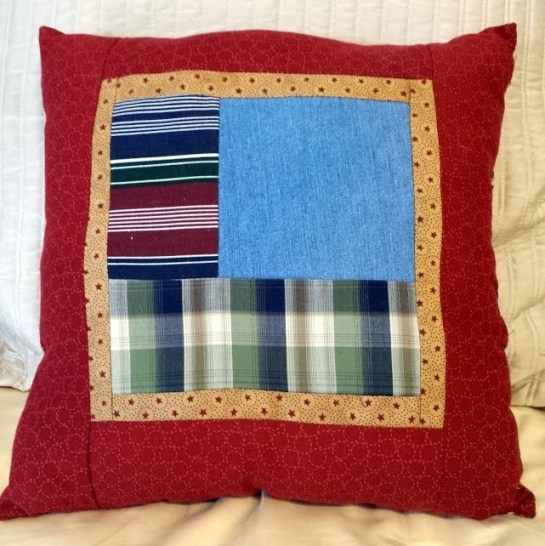 Pillow made of grandpas shirts and jeans