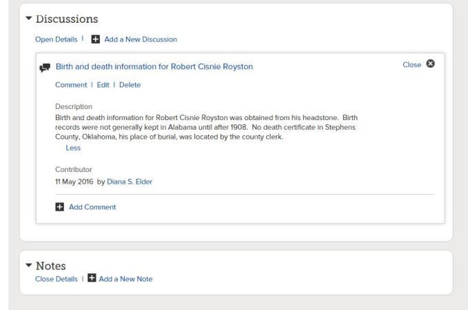 Discussion for Robert Cisnie Royston
