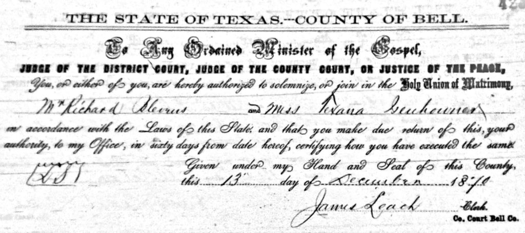 1870 Marriage, Texana Isenhour and Richard Blevins, Bell Co. TX