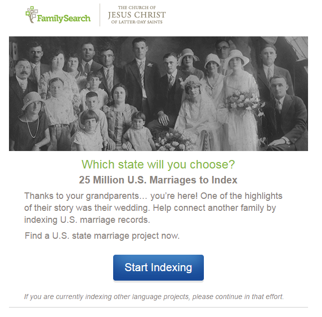 FamilySearch Invites You to Join the Cause to Index U.S. Marriages