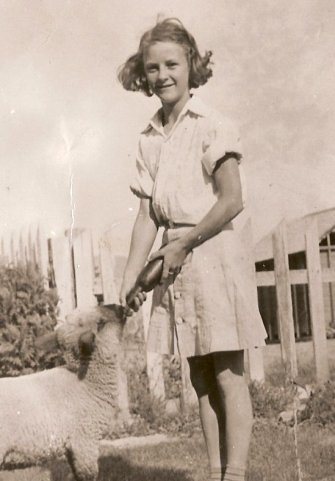 Nan feeding bum lambs on the Kelsey farm