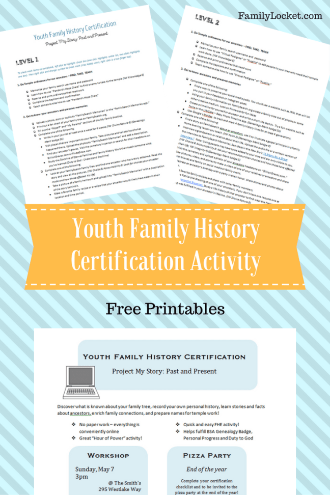 """Youth Family History Certification: """"Project My Story: Past and"""