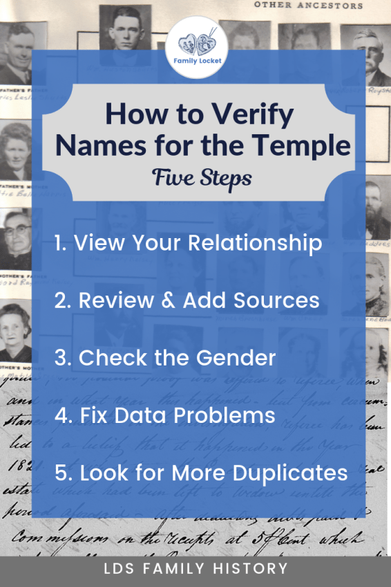 Copy of How to verify names for the temple pinterest