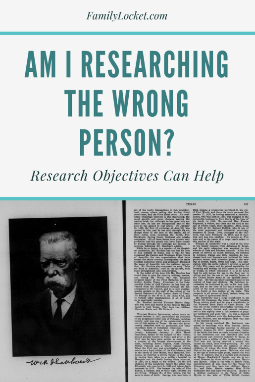 am i researching the wrong person research objectives can help