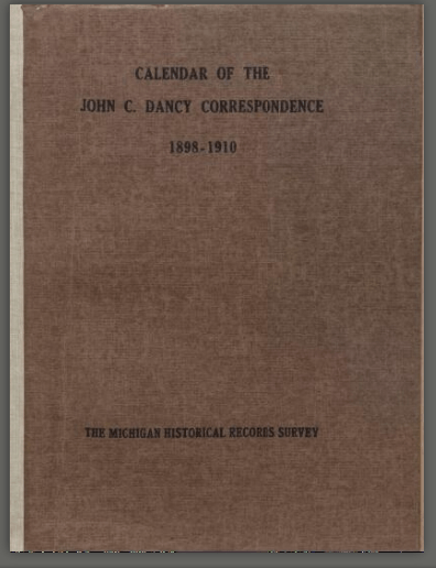Calendar of the John C. Dancy Correspondence, 1898-1910