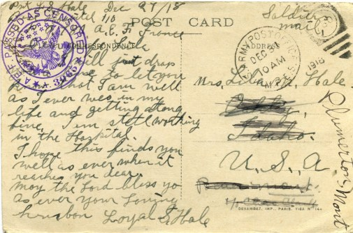 1918 Dec. 27 Postcard from Loyal Hale to wife Lila 2 - back
