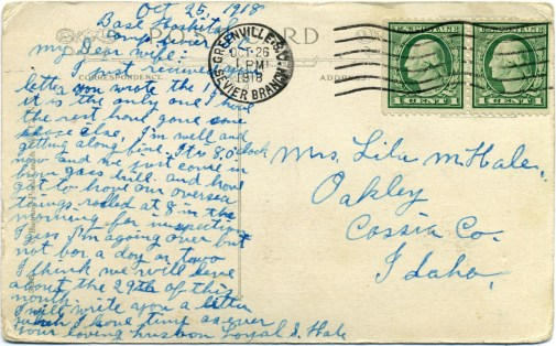 1918 Oct. 25 Postcard from Loyal Hale to wife Lila - back