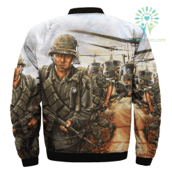 familyloves.com The Screaming Eagles In Vietnam Over Print Jacket %tag