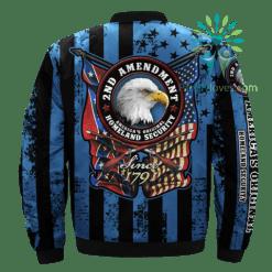 2ND AMENDMENT, AMERICA'S ORIGINAL, HOMELAND SECURITY over print Bomber jacket %tag familyloves.com