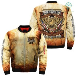 familyloves.com 2nd amendment america's original homeland security the right of people to keep and bear arms shall not be infringed 1789 over print Bomber jacket %tag