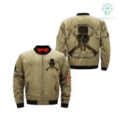 familyloves.com 2ND AMENDMENT IF WE CAN'T PROTECT OURSELVES WHO WILL over print Bomber jacket %tag