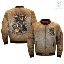 familyloves.com 2nd Amendment Right to Bear Arms Dont Tread on Me over print Bomber jacket %tag