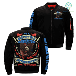 familyloves.com I'm A Grumpy Old Air force Veteran My Level Sarcasm depends on your level of stupidity Over Print Jacket %tag
