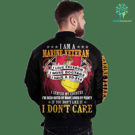 I Am A Marine Veteran I Love Freedom I Wore Dogtags I Have A DD-214 Over Print Jacket %tag familyloves.com