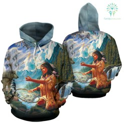familyloves.com 5D Diamond Painting Native Woman with Dreamcatcher and Wolves Over print hoodie %tag