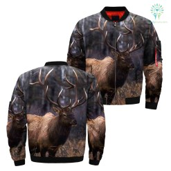 familyloves.com 3D deer hunting over print Jacket %tag