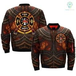 familyloves.com AMERICAN FIREFIGHTER FIREF-DEPT over print Bomber jacket %tag