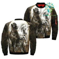 American Indian Horse over print bomber jacket %tag familyloves.com