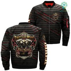 familyloves.com American steel biker forever over print jacket %tag