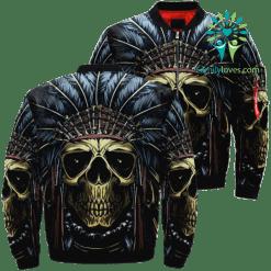 Skull Native American Over Print Jacket %tag familyloves.com