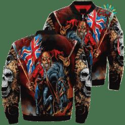 Skull Warrior Riding Horse Over Print Jacket %tag familyloves.com