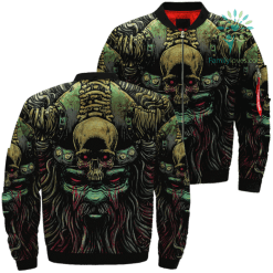 Viking's Skull Art Over Print Jacket %tag familyloves.com