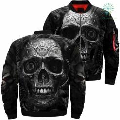 Machinery skull over print jacket %tag familyloves.com
