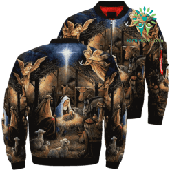 THE NIGHT JESUS WAS BORN 3D Over Print Jacket %tag familyloves.com