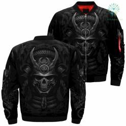 Samurai Skull Over Print Jacket %tag familyloves.com