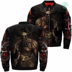 Demons Fantasy Skull Over Print Jacket %tag familyloves.com