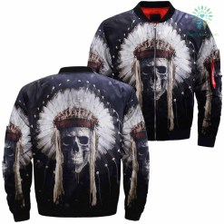 familyloves.com Skull Native American Over Print Jacket SNA01 %tag