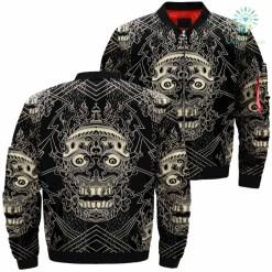 Skull Pattern Over Print Jacket %tag familyloves.com