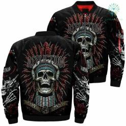 Affliction Live Fast Skull Over Print Jacket %tag familyloves.com