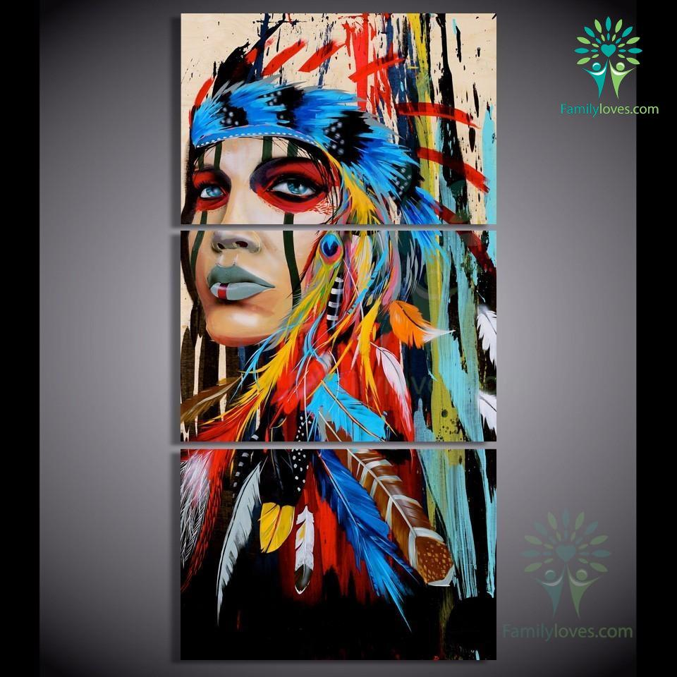 Beauty Native American Indian Girl Canvas Painting Portrait Canvas Wall Art  for Living Room Wall Decor Home Decor - FamilyLoves Com