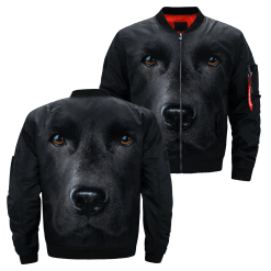 Black Lab over print jacket %tag familyloves.com