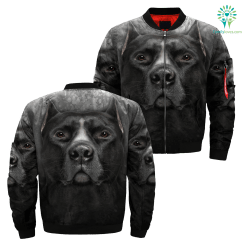 familyloves.com Black Pitbull over print jacket %tag