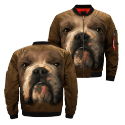 Bulldog over print jacket %tag familyloves.com