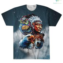 Chief & Spirit Animal Galaxy Background Native American Pride Over Print T-Shirt %tag familyloves.com
