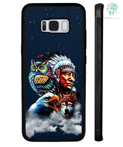 Chief & Spirit Animal Galaxy Background Native American Samsung, iPhone case %tag familyloves.com