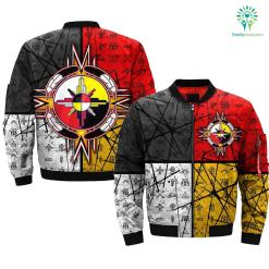 circle of courage native american OVER PRINT BOMBER JACKET %tag familyloves.com