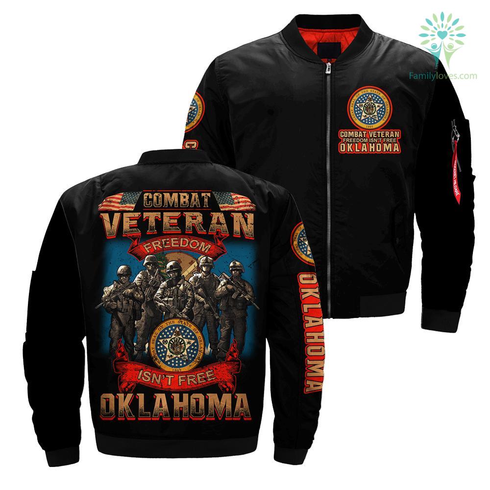 Combat veteran freedom isn't free OKLAHOMA over Print jacket %tag familyloves.com