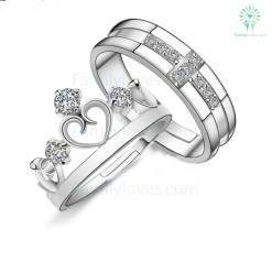 crystal crown cross couple rings valentine's day gifts %tag familyloves.com