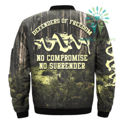 DEFENDERS OF FREEDOM, NO COMPROMISE NO SURRENDER OVER PRINT JACKET %tag familyloves.com