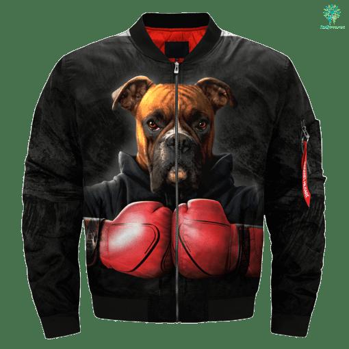 Dog Boxer over print jacket %tag familyloves.com